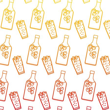 degraded line liquor port bottle and glass background vector illustration