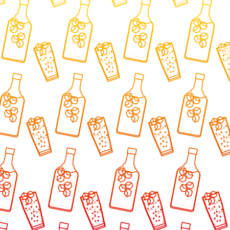 degraded line liquor port bottle and glass background vector illustration Illustration