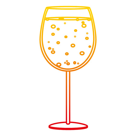 degraded line liquor brandy glass alcohol beverage vector illustration