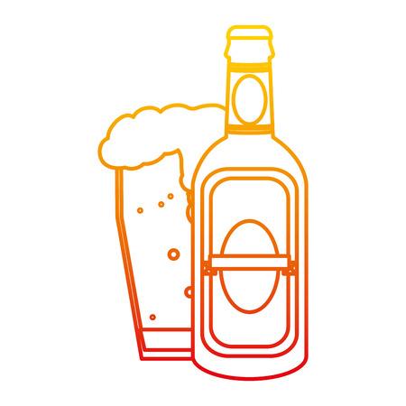 degraded line liquor schnapps bottle and beer glass vector illustration