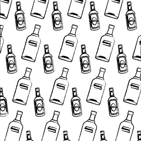 grunge vodka and schnapps liquor bottle background vector illustration