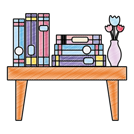 doodle books education and flowers vase in the table vector illustration Illustration