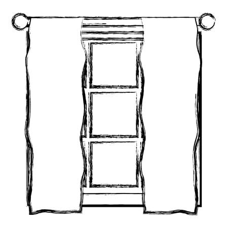 grunge window frame with veil curtain design vector illustration Illustration