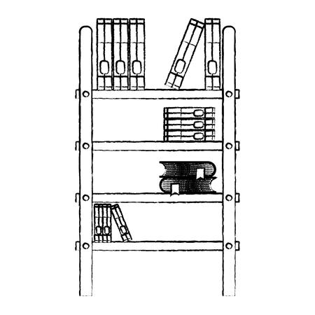 grunge books education inside wood bookcase object vector illustration Illustration