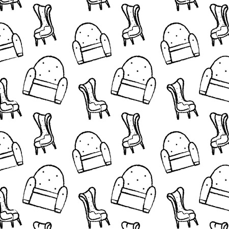 grunge chair modern object with armchair background vector illustration Banque d'images - 102600625