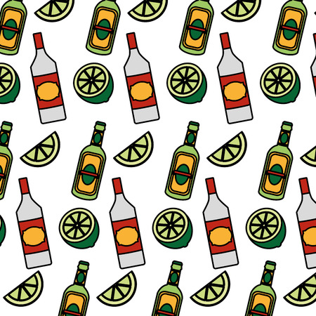 color schnapps bottles beverages and lemon background vector illustration