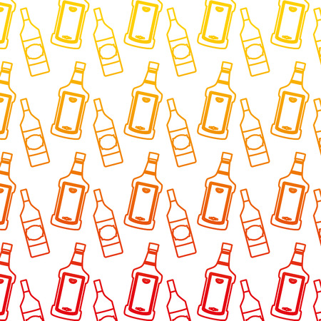 degraded line tequila and schnapps liquor bottle background vector illustration Standard-Bild - 102601239