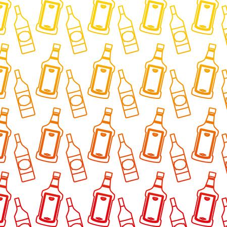 Ilustración de vector de fondo de botella de licor de tequila y aguardiente de línea degradada Ilustración de vector