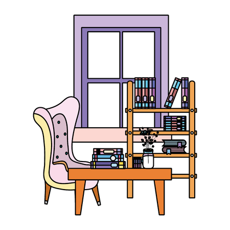 color books inside bookcase object and table with flower vase vector illustration