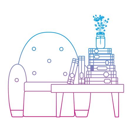 livres de ligne dégradés et vase de fleurs dans l & # 39; illustration vectorielle de table et chaise