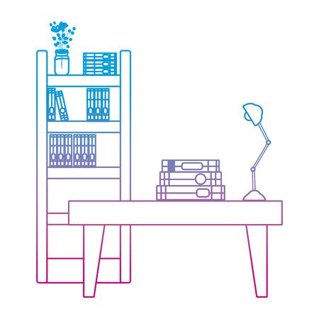 livres de ligne dégradés à l'intérieur de l'objet de bibliothèque et table avec lampe