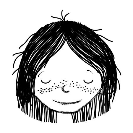 Cabeza de niña de sonrisa grunge con peinado y ojos cerrados ilustración vectorial