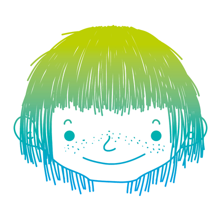 degraded line happy boy head with cute hairstyle