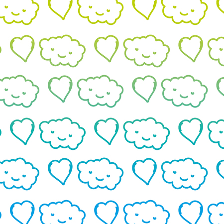 degraded line  nature cloud fluffly and heart background