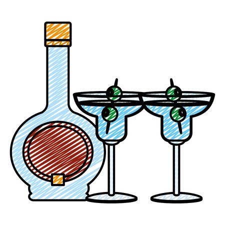 doodle cocktail drankfles en glas met olijven