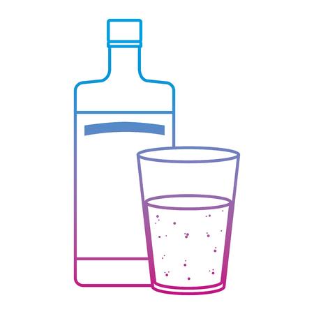degraded line vodka liquor bottle and glass beverage