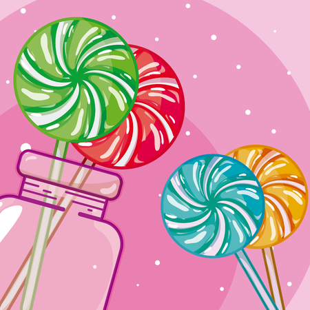 Sweet lollipop inside glass bottle vector illustration graphic design