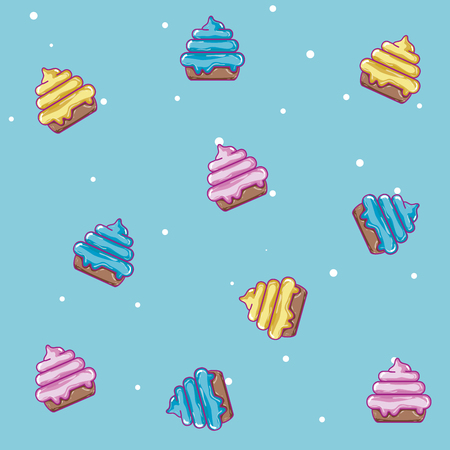 Cupcakes candy pattern background vector illustration graphic design Illustration