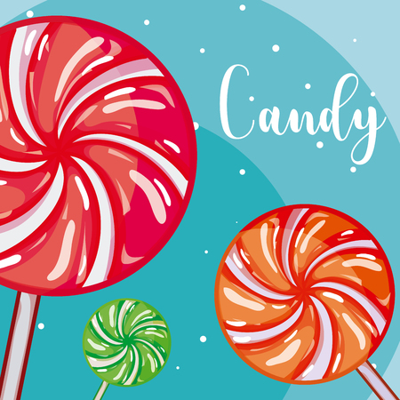 Sweet and delicious lollipops vector illustration graphic design