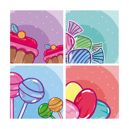 Set of candy frames collection vector illustration graphic design