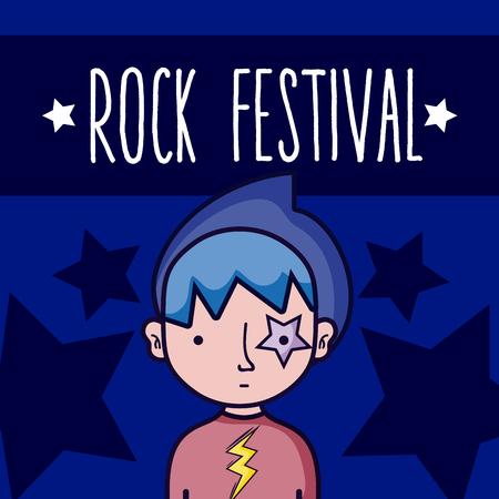 Rock festival guy cartoon concept over colorful background vector illustration graphic design
