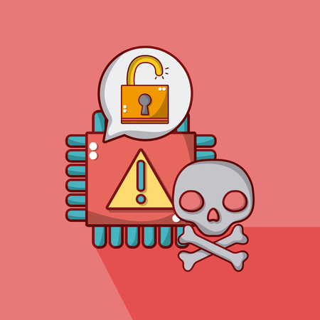 Processor with skull and unlocked padlock vector illustration graphic design Illusztráció
