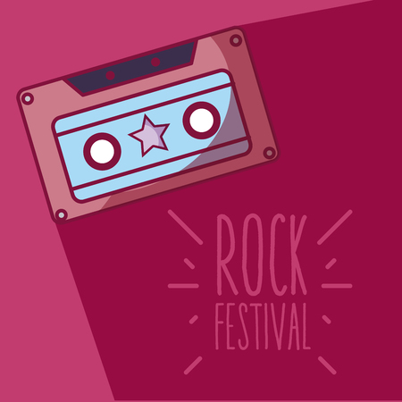 Music cassette rock festival cartoon vector illustration graphic design Ilustração