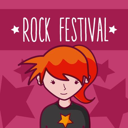 Rock festival girl cartoon concept over colorful background vector illustration graphic design
