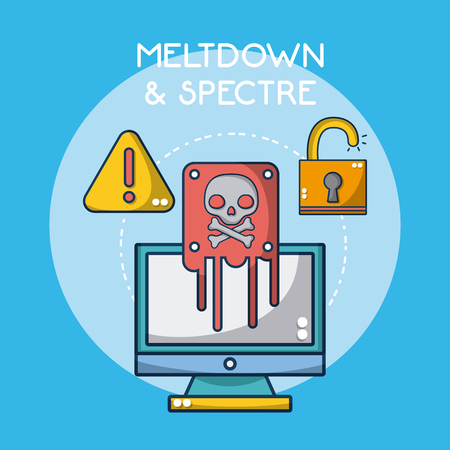Meltdown and spectre cartoon elements vector illustration graphic design