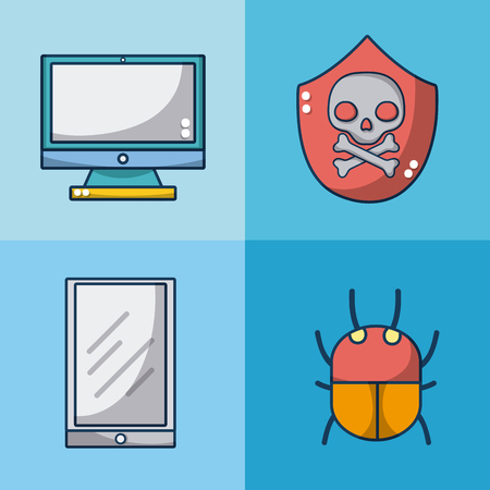 Set of meltdown and spectre icons collection vector illustration graphic design