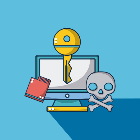 Computer with key and skull vector illustration graphic design