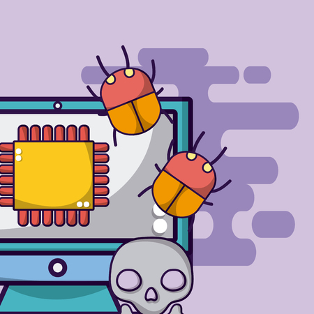 Computer processor with bugs and virus vector illustration graphic design