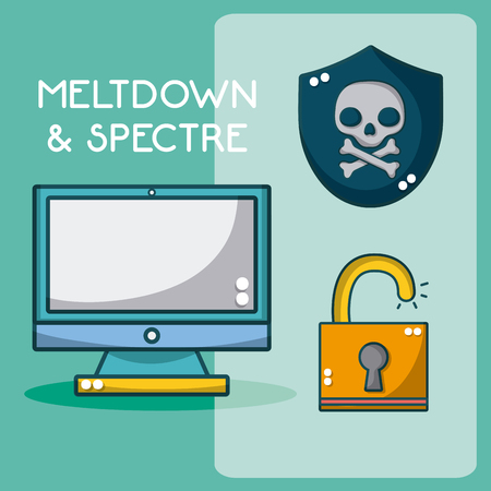 Meltdown and spectre cartoon elements vector illustration graphic design Foto de archivo - 102904357
