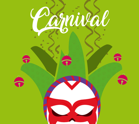 Carnival with mask and confeti vector illustration graphic design Illusztráció