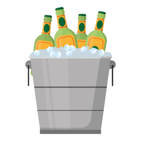 color liquor bottles inside bucket with ice cubes