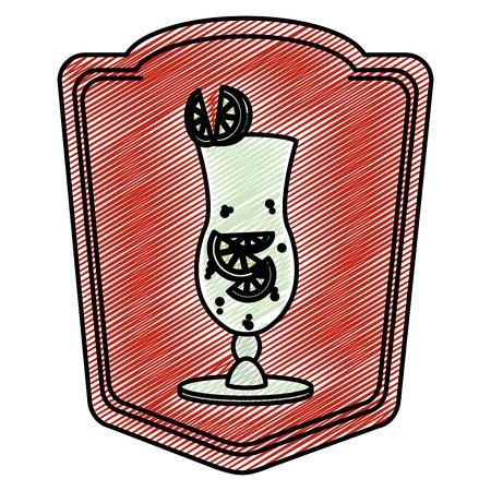 doodle cocktail glass liquor with lemon emblem vector illustration
