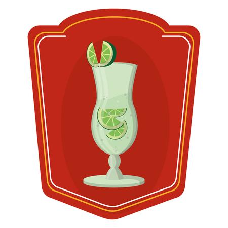 color cocktail glass liquor with lemon emblem