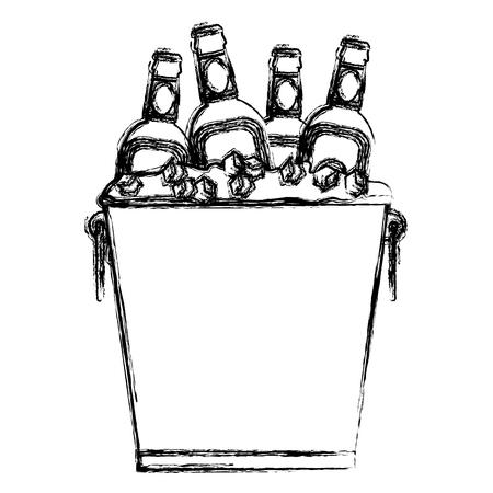 氷キューブベクトルイラストとバケツの中のグランジ酒瓶