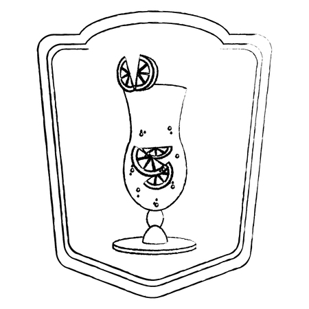 grunge cocktail glass liquor with lemon emblem vector illustration