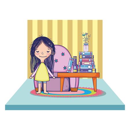 Chica con jarrón de flores y libros sobre la ilustración de vector de mesa