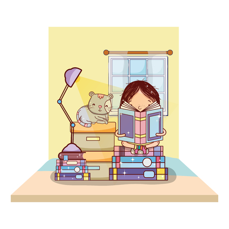 girl reading books with boxes and cat vector illustration Vecteurs