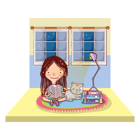 girl reading books with cat and lamp vector illustration
