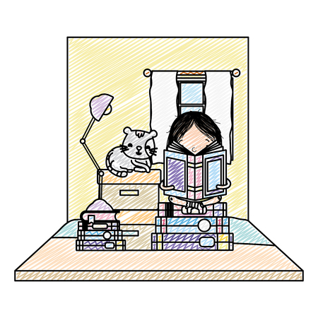doodle girl reading books with boxes and cat 矢量图像
