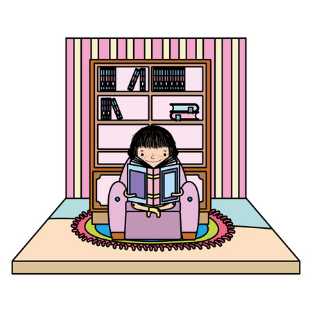 color girl sitting in the chair and reading book vector illustration