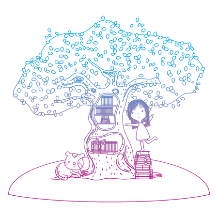 degraded line girl playing with books inside tree and cat