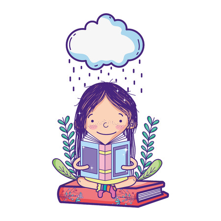 girl reading book and cloud raining