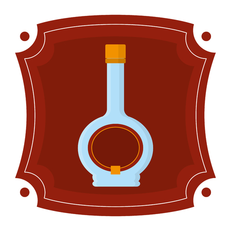 emblem with alcohol liquor bottle drink vector illustration