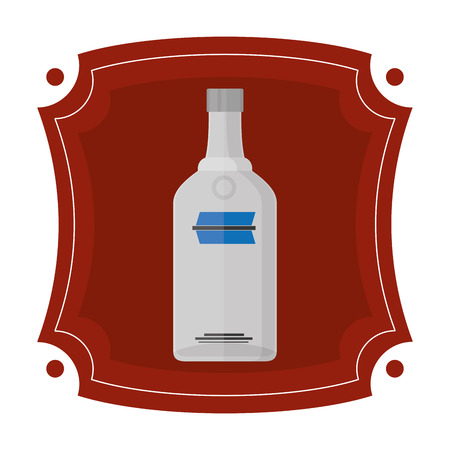emblem with vodka liquor bottle beverage vector illustration