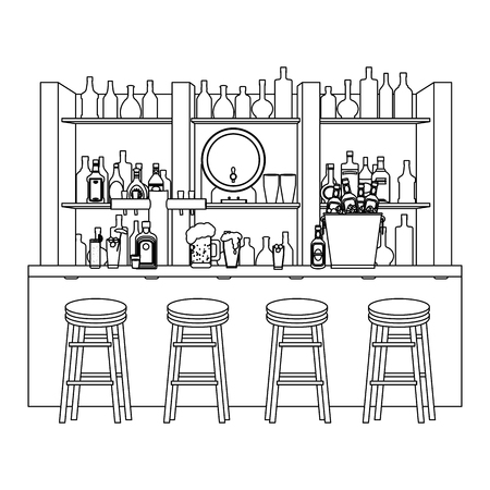 line bar liquor beverages with chairs objects vector illustration