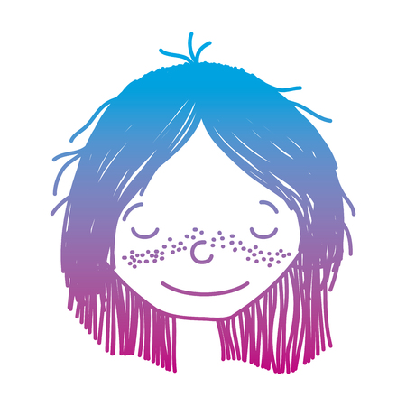 degraded line happy girl head with hairstyle and closed eyes vector illustration Çizim